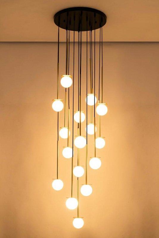 Lampa wisząca CANNON DISC 16 złota - mosiądz, szkło