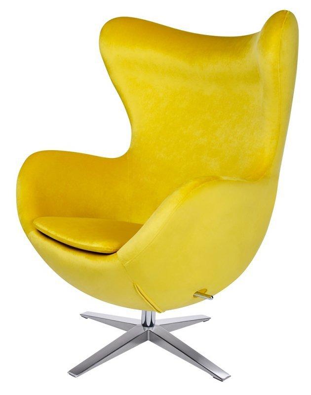 Fotel EGG SZEROKI VELVET żółty.20 - welur, podstawa stal