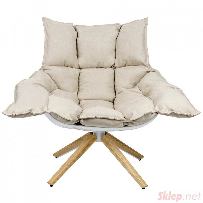 Fotel STAR beżowy - szara tkanina,  podstawa drewniana , włókno szklane