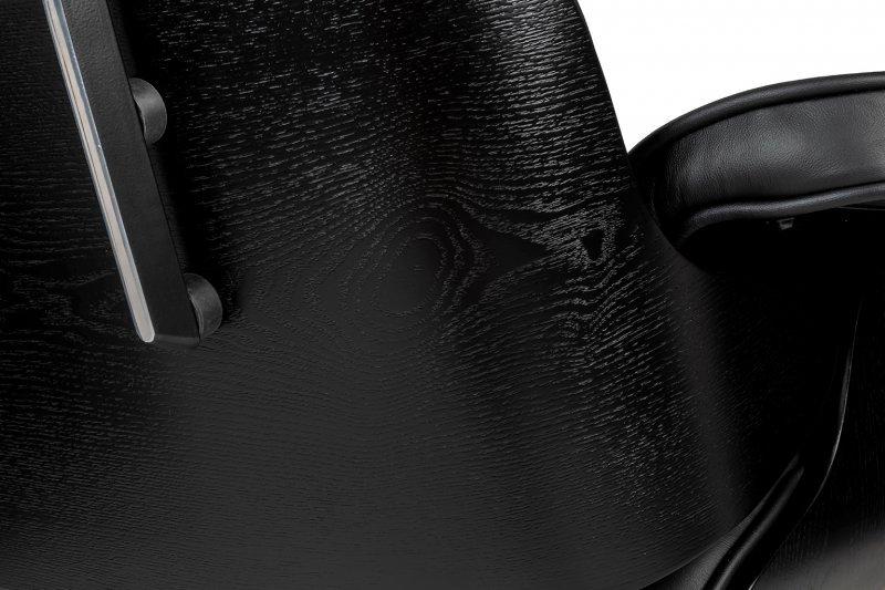Fotel biurowy LOUNGE GUBERNATOR czarny - czarny jesion, skóra naturalna, podstawa czarna