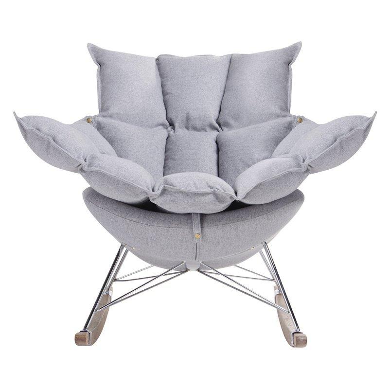 Fotel bujany SWING jasny szary - tkanina, stal, drewno dębowe