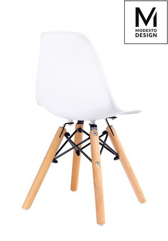 MODESTO krzesło JUNIOR DSW białe - polipropylen, nogi bukowe