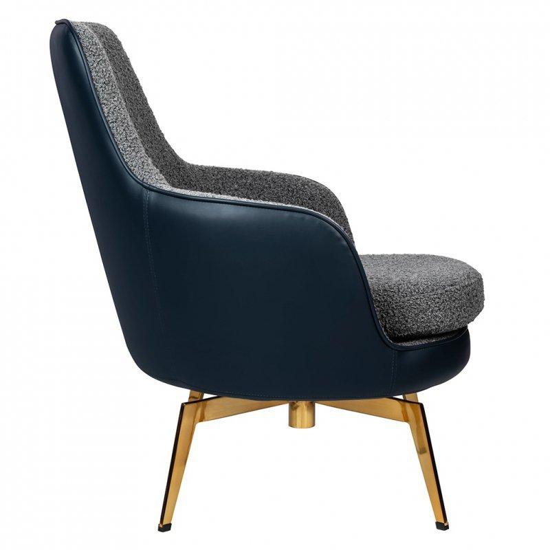 Fotel obrotowy TORO - ekoskóra, tkanina teddy, złota podstawa