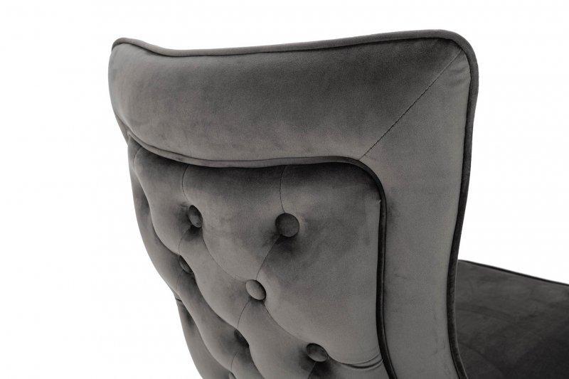 Krzesło IMPERIAL ciemny szary  - welur , stal polerowana