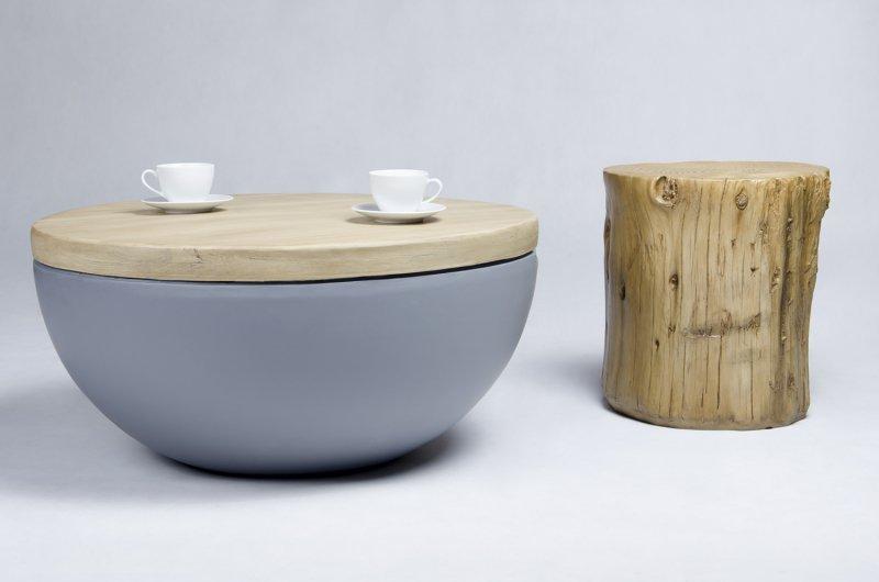 Stolik DOUGLAS MARCO POLO  - imitacja betonu i drewna dębowego