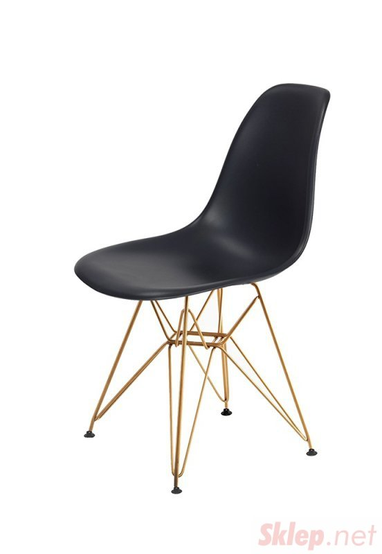 Krzesło DSR GOLD antracytowy.39 - podstawa metalowa złota
