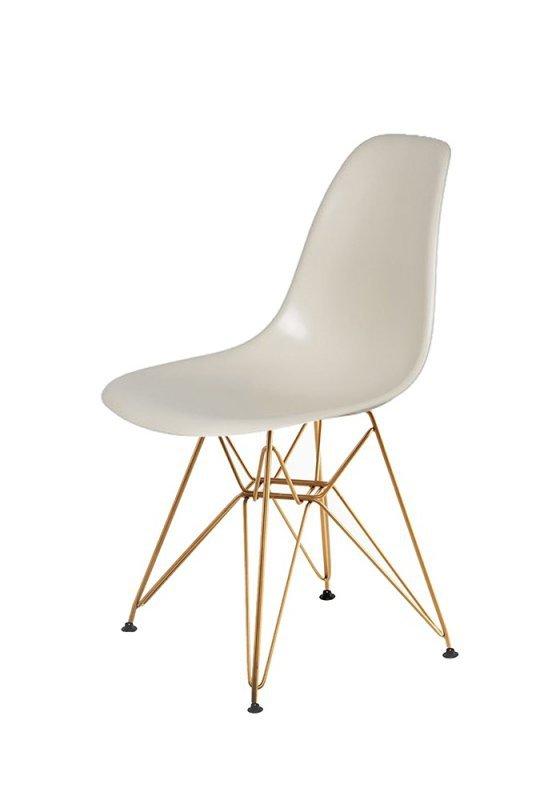 Krzesło DSR GOLD migdał pralinowy.29 - podstawa metalowa złota