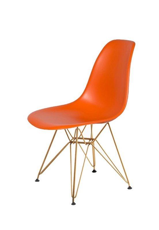 Krzesło DSR GOLD sycylijska pomarańcz.08 - podstawa metalowa złota