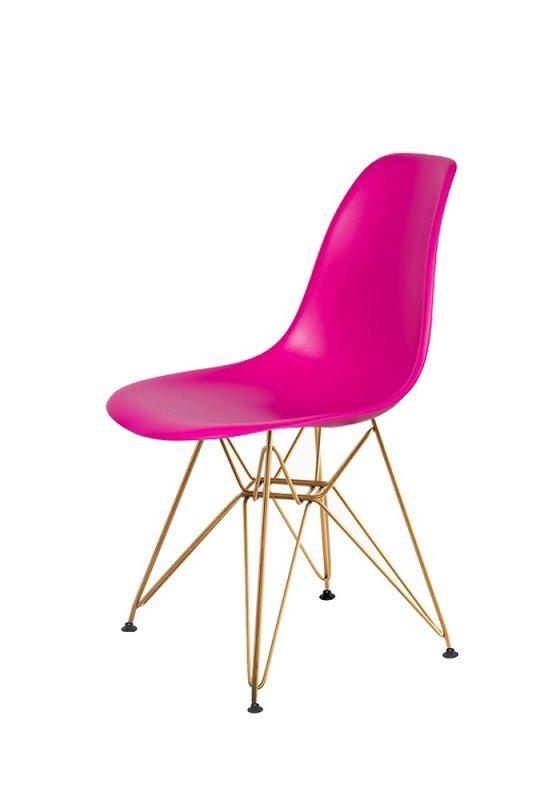 Krzesło DSR GOLD wściekły róż.22 - podstawa metalowa złota