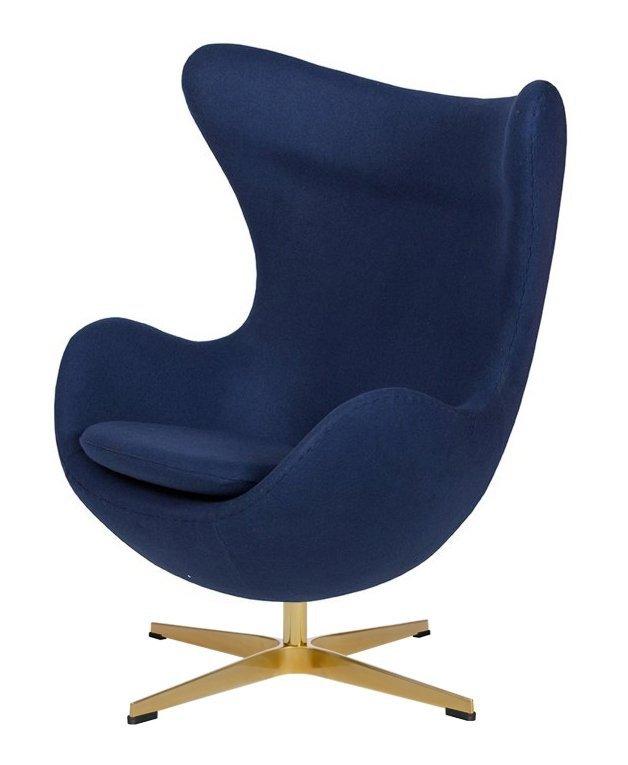 Fotel EGG CLASSIC GOLD atlantycki niebieski.26 - wełna, podstawa złota