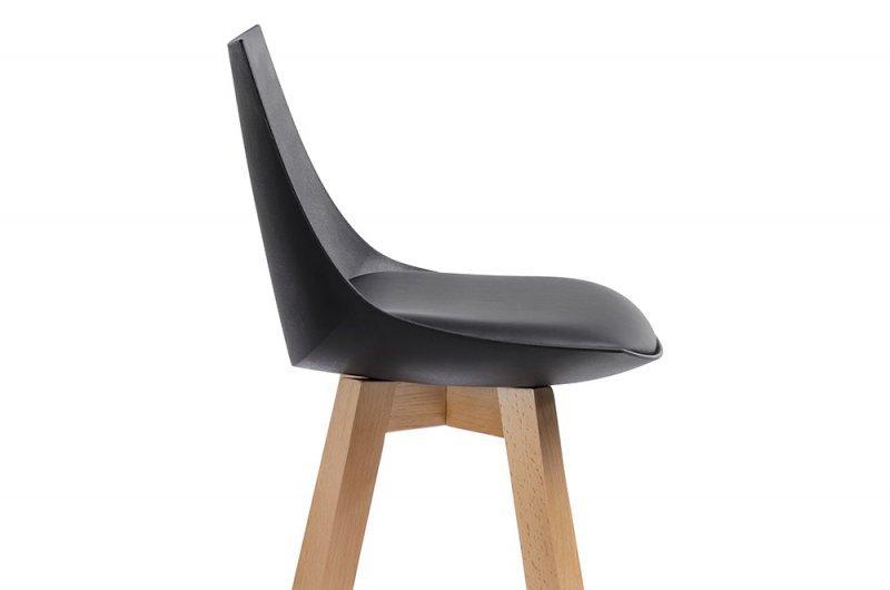 Hoker SLIM czarny - polipropylen, ekoskóra, drewno