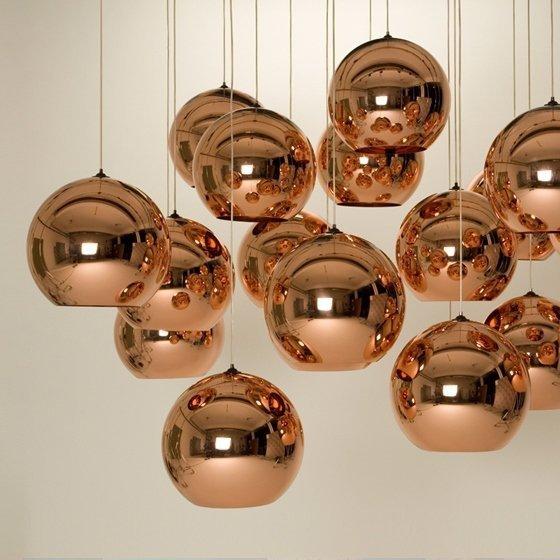 Lampa wisząca BOLLA 25 miedziana - szkło metalizowane