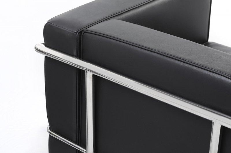Fotel SOFT LC2 czarny - włoska skóra naturalna, chrom