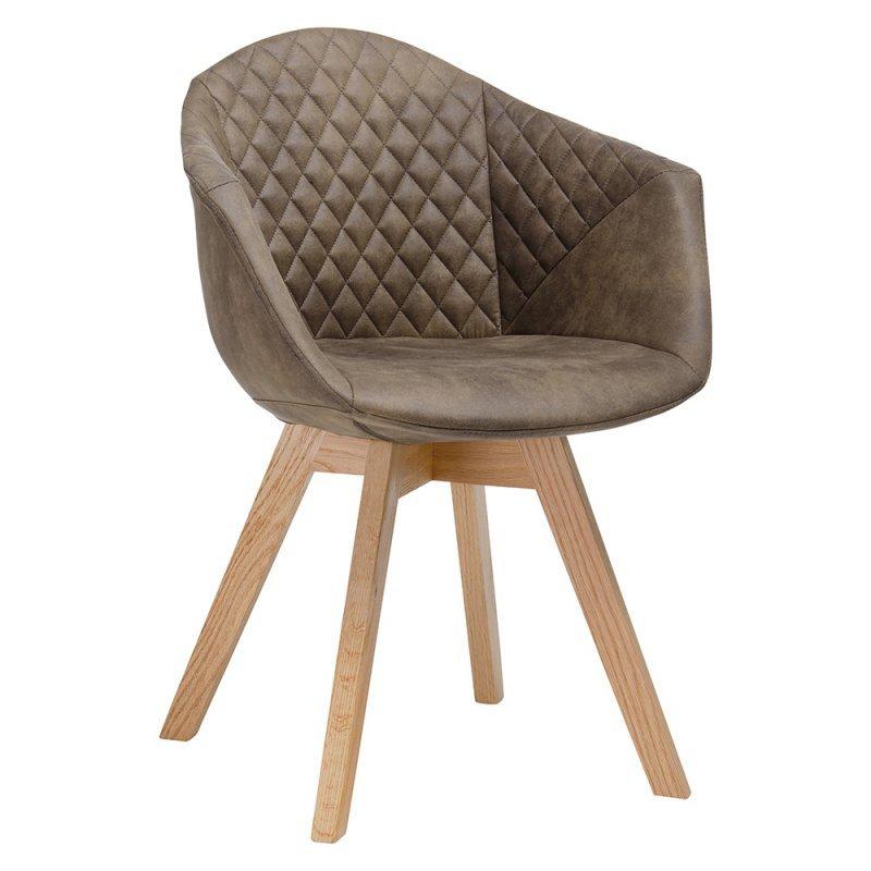 Fotel FRANKY brązowy - podstawa dębowa