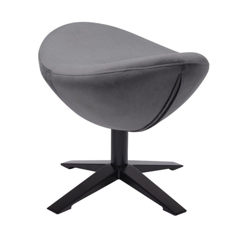 Fotel EGG SZEROKI VELVET BLACK z podnóżkiem ciemny szary.40 - welur, podstawa czarna
