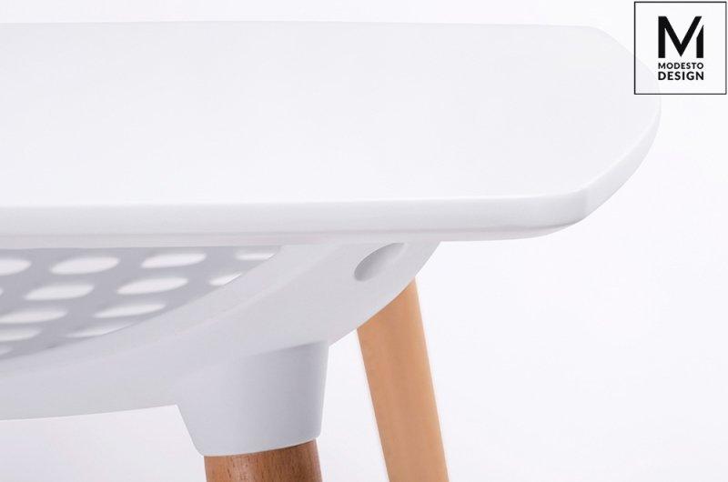 MODESTO stół HIDE SQUARE biały - blat MDF,  podstawa drewniana