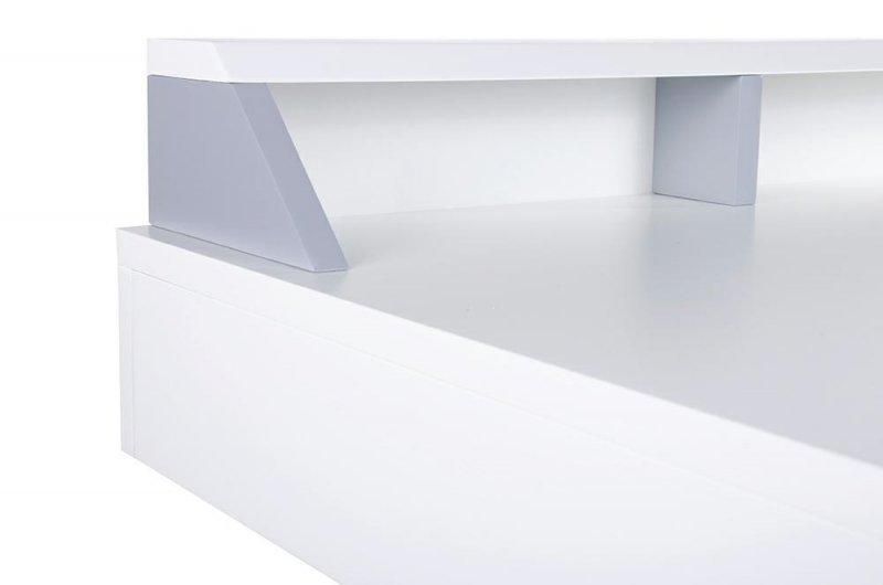 Biurko DOCTOR białe - biały blat, dębowa szuflada i nogi
