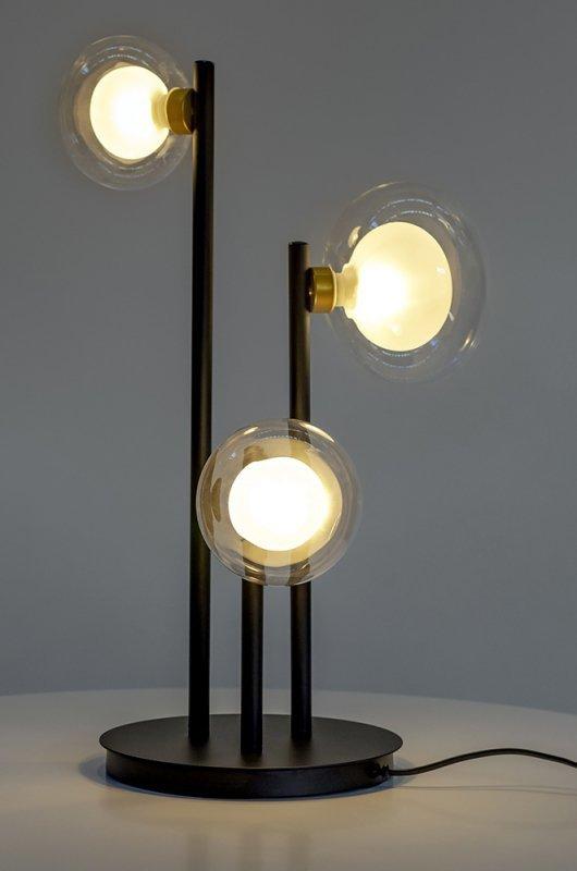 Lampa biurkowa INTEGRA czarna - metal, szkło