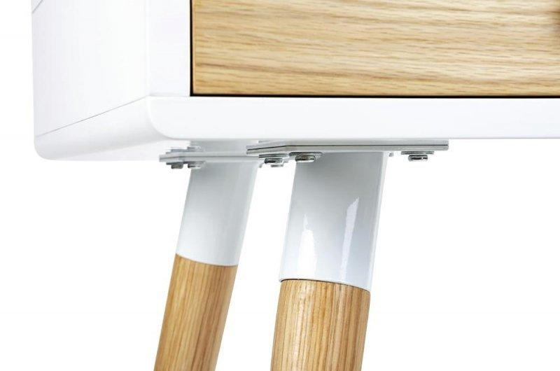 Biurko ARONE dąb - biały blat, dębowe szuflady i nogi