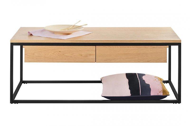Stolik CRUDO GRANDE dąb - szuflady, MDF, metal