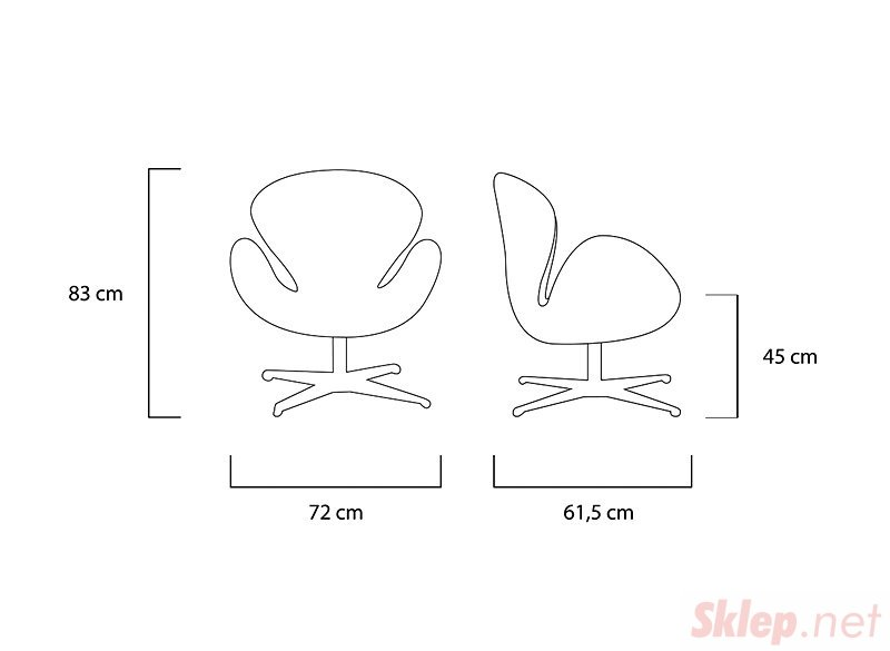 Fotel SWAN SILVER turkusowy - wełna, podstawa stal