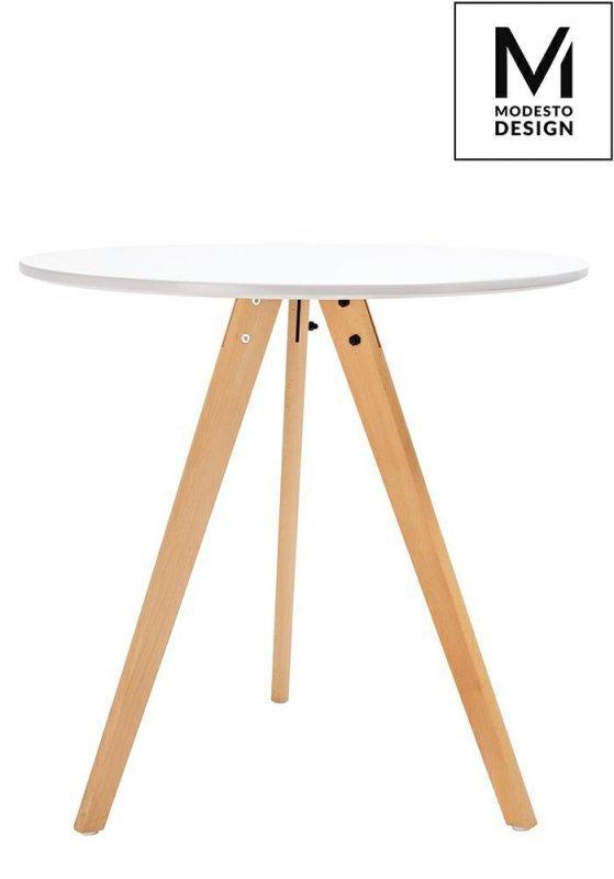 MODESTO stół TRIPOD FI 80 biały - blat MDF, nogi bukowe