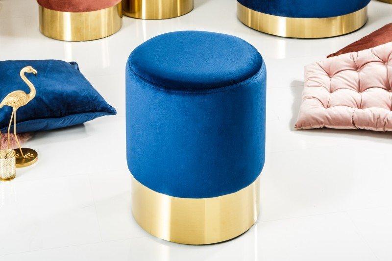 INVICTA Pufa BAROCK VELVET niebieski - złota podstawa