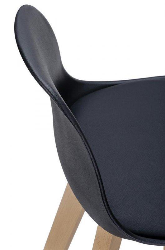 Hoker DENWER czarny - polipropylen, ekoskóra, drewno bukowe
