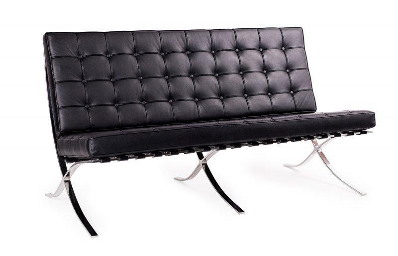 Sofa BARCELON czarna - skóra naturalna, stal polerowana