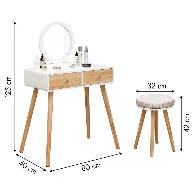 Toaletka kosmetyczna biurko z lustrem - drewniane fronty