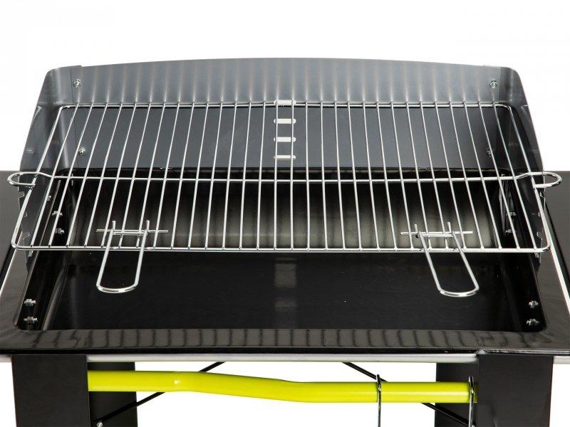 Duży grill ogrodowy węglowy duży ruszt półki koła