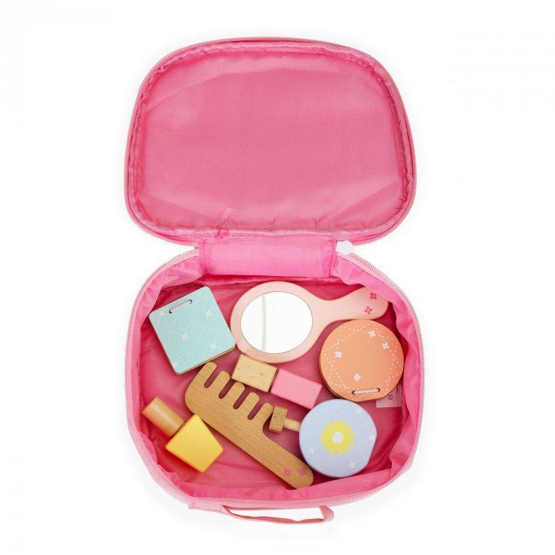 Zestaw drewnianych kosmetyków do makijażu + torba Ecotoys