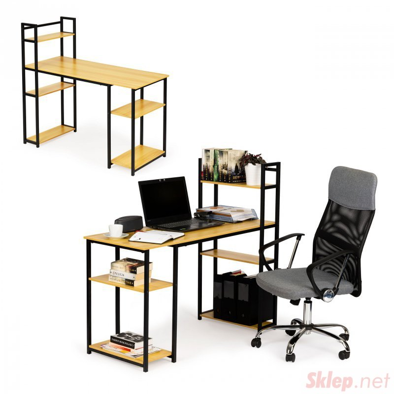 Biurko komputerowe stół regał półki loft jasny dąb