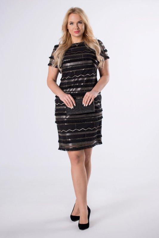 cekinowa sukienka z frędzelkami