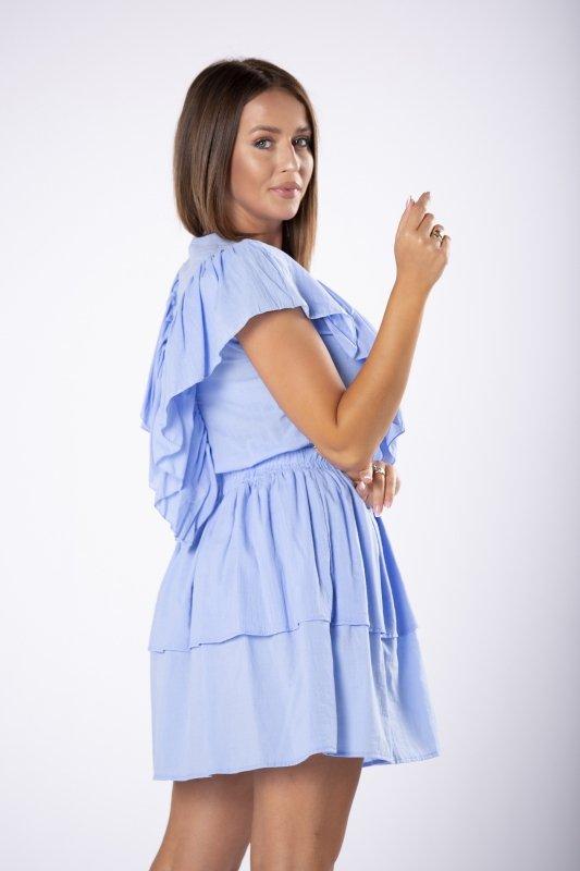 krótka sukienka z falbankami