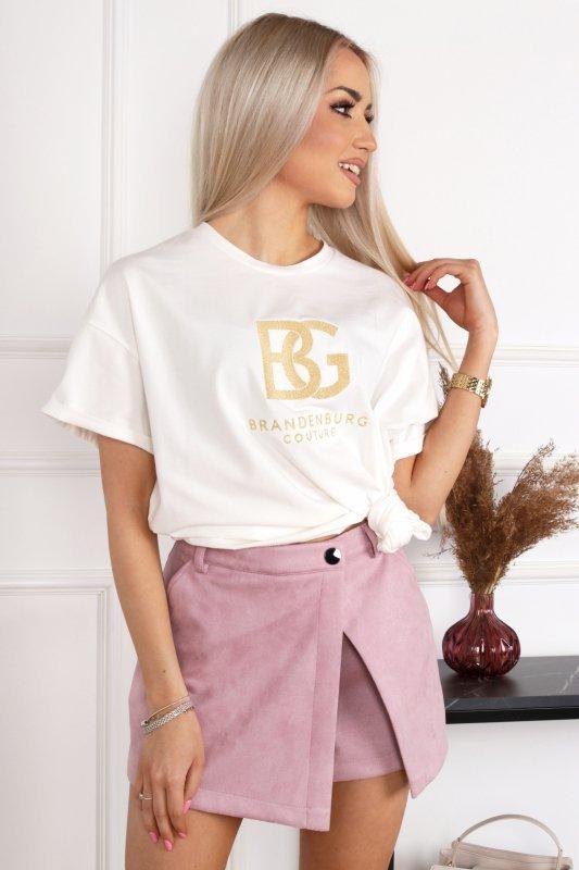 t-shirt ze złotym haftem
