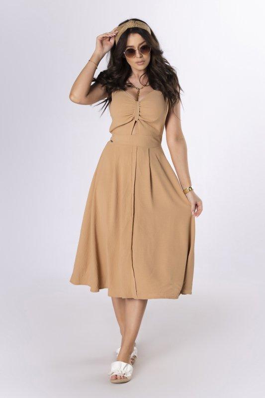sukienka midi z wycięciem