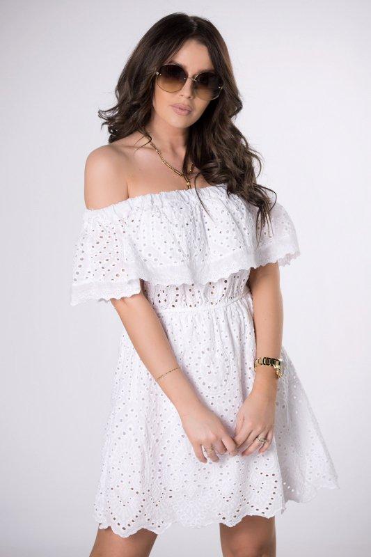 sukienka hiszpanka z wycinanym haftem