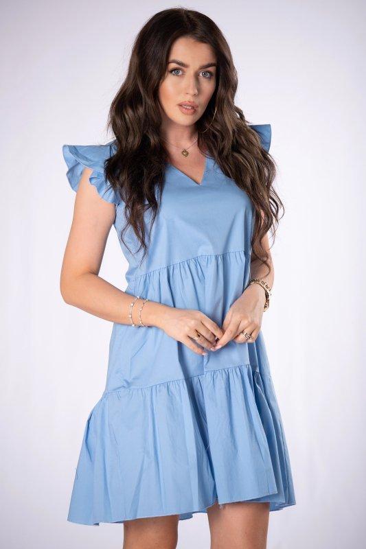 trapezowa sukienka z falbankami