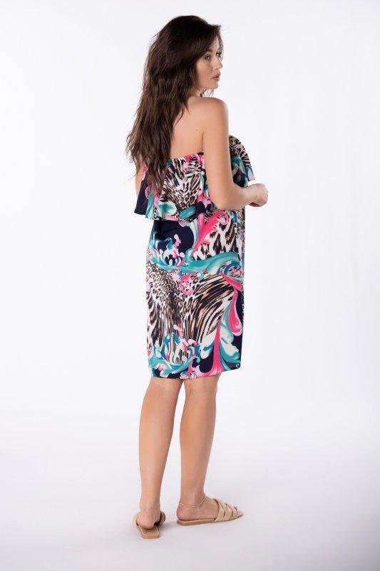 sukienka mini z hiszpańskim dekoltem
