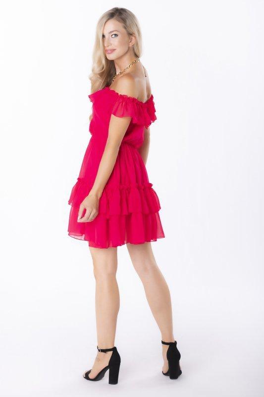 szyfonowa sukienka z falbanami