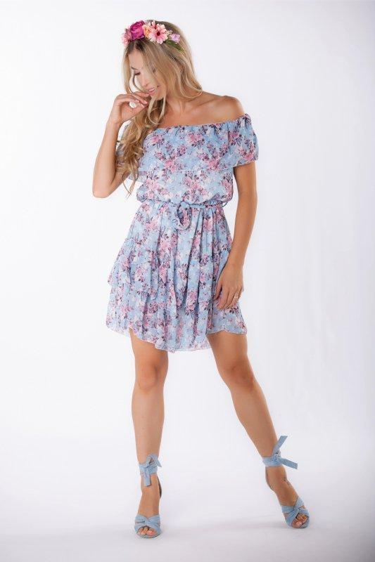 szyfonowa sukienka mini z hiszpańskim dekoltem