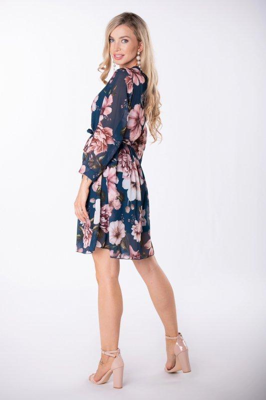 szyfonowa sukienka mini z kopertowym dekoltem