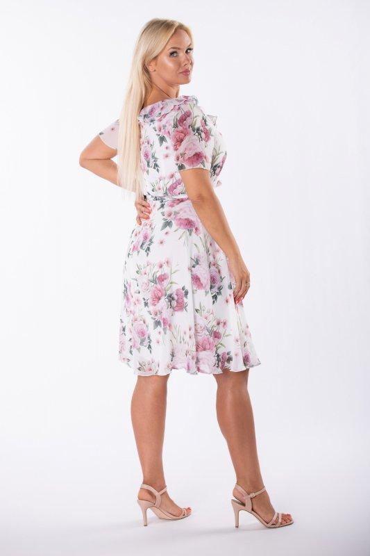 rozkloszowana sukienka z szyfonu