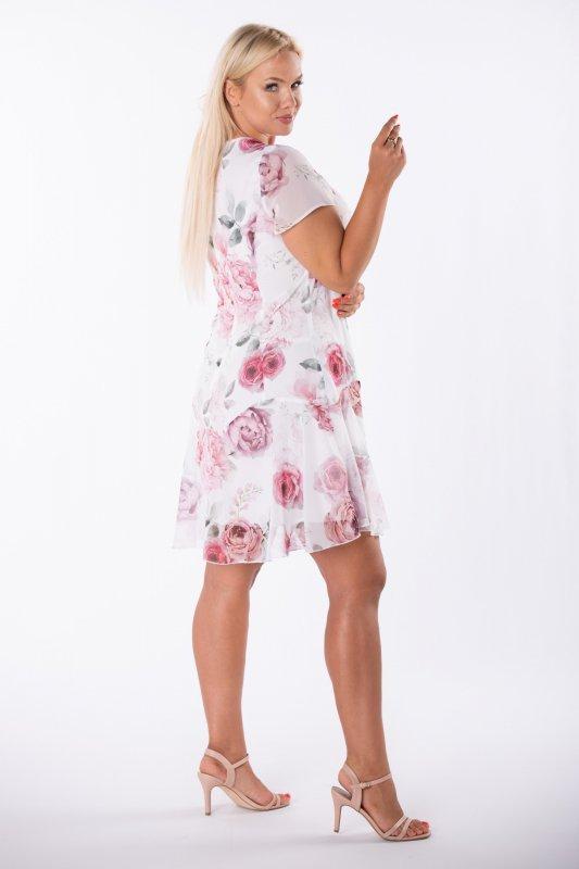 szyfonowa sukienka z falbaną