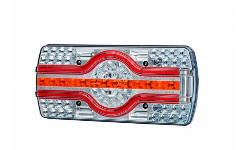Lampa zespolona tylna hor 89, ema - 4 funkcyjna, diodowa 12/24 v, (oświetlenie tablicy rejestracyjnej boczne, przewód okrągły 5x