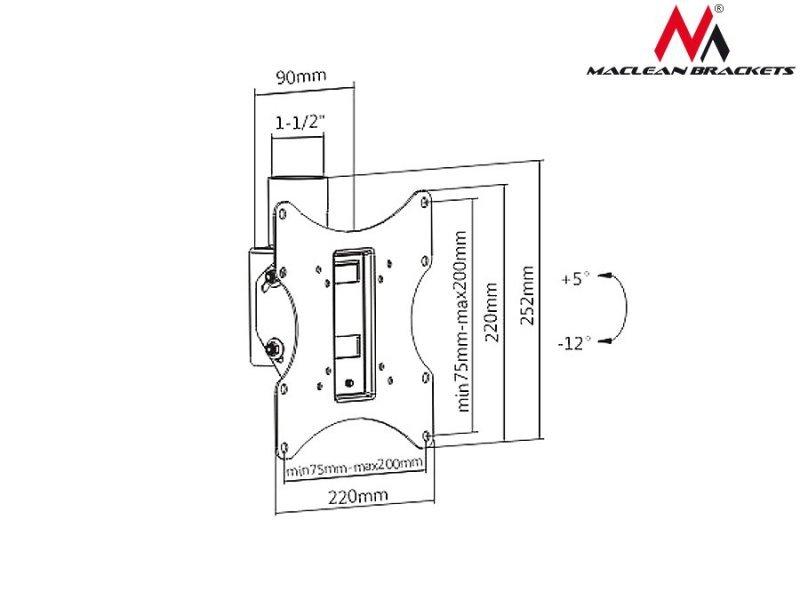 "Uchwyt do telewizora sufitowy  23-42"" Maclean  MC-704  50kg Max VESA 200x200 PROFI MARKET SYSTEM"