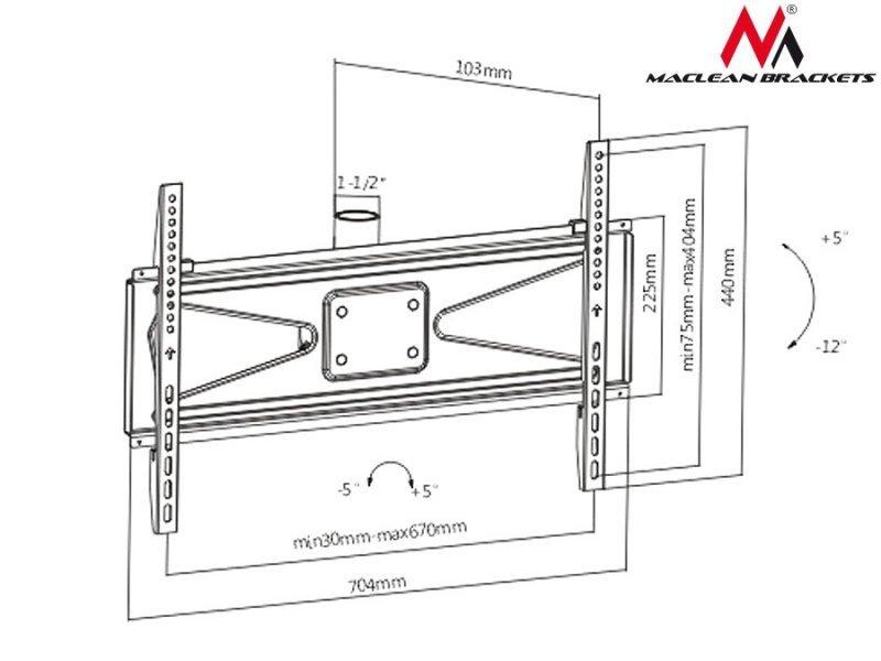 "Uchwyt do telewizora sufitowy 37-70"" Maclean  MC-705  50kg Max VESA 600x400 PROFI MARKET SYSTEM"
