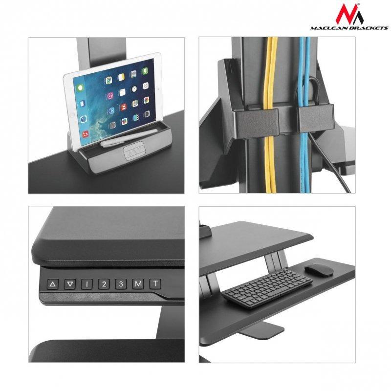 Podwójny elektryczny uchwyt do monitorów klawiatury MC-796 do pracy stojąco-siedzącej max zmiana 60cm