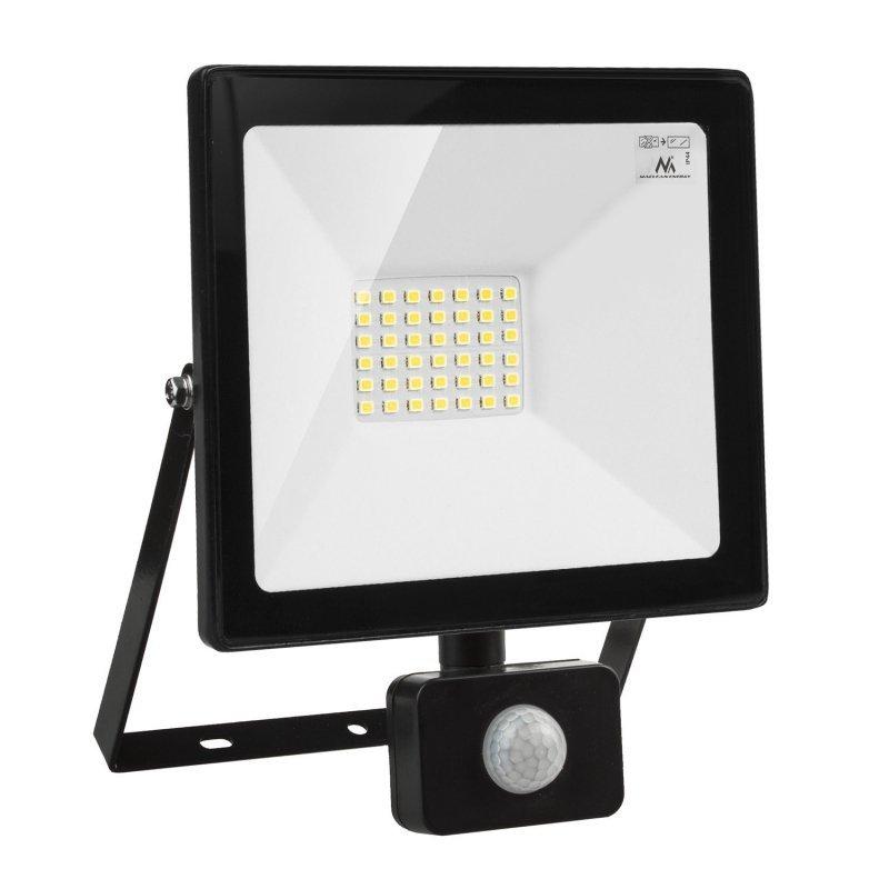 Naświetlacz LED z czujnikiem ruchu Maclean, slim 30W, 2400lm, barwa ciepła biała (3000K), IP44,  MCE630 WW PIR